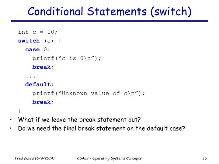 Conditional Statements (switch)