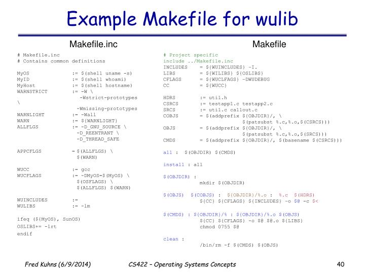 Example Makefile for wulib