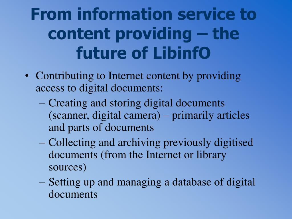 From information service to content providing