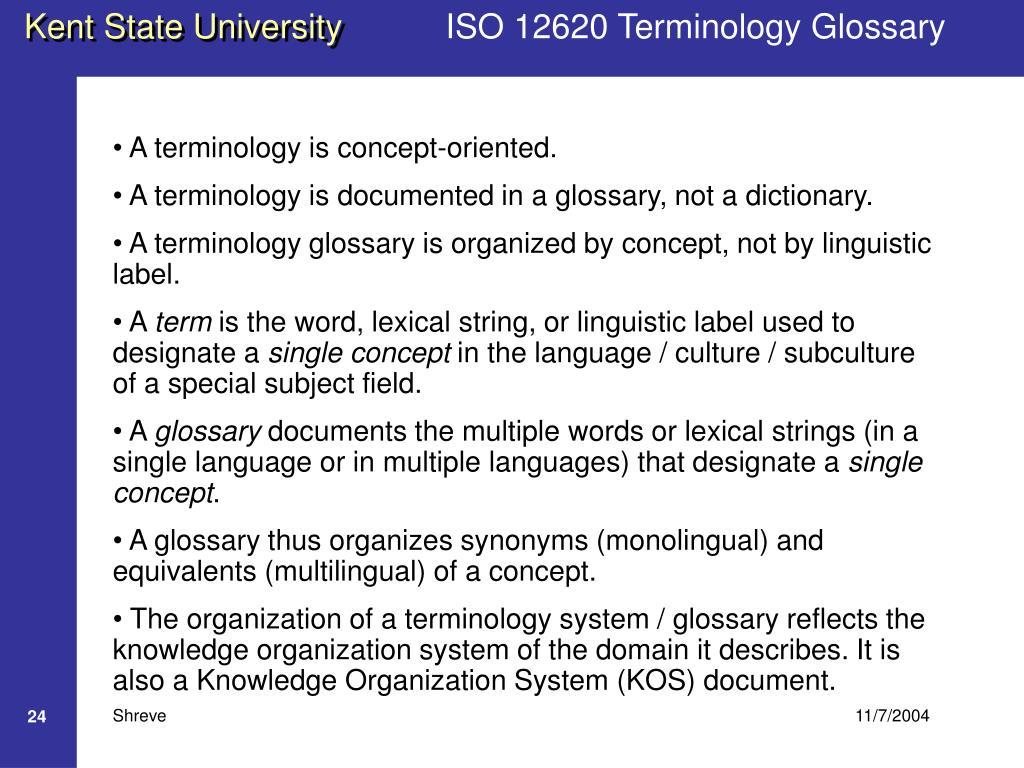 ISO 12620 Terminology Glossary