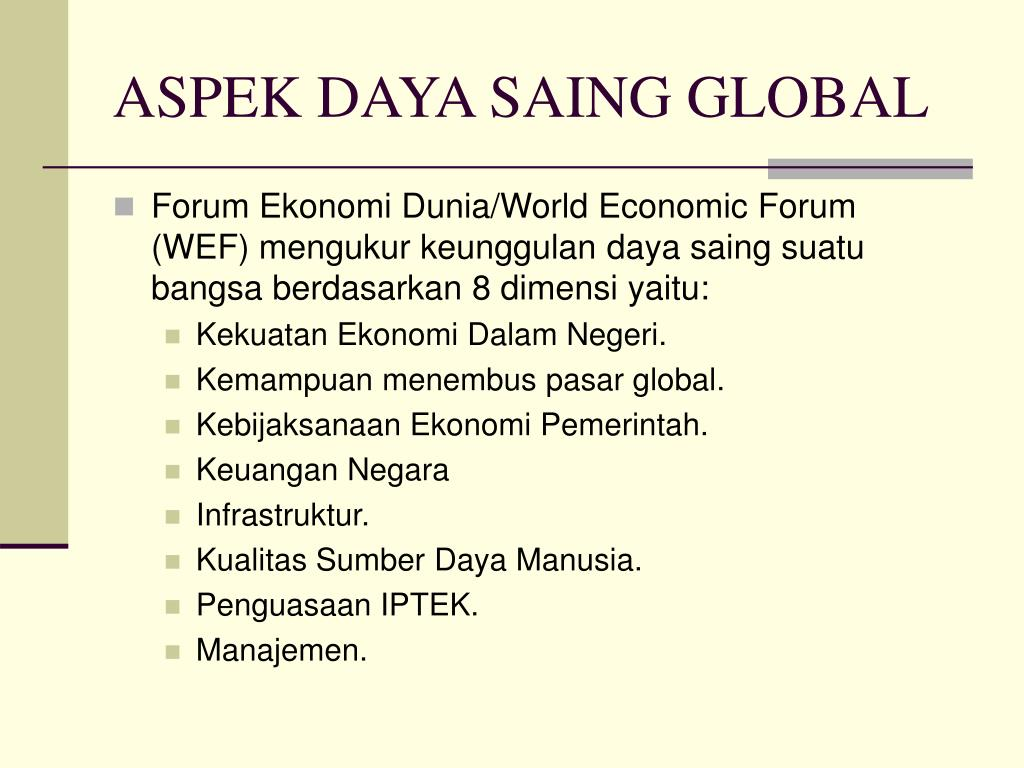 ASPEK DAYA SAING GLOBAL