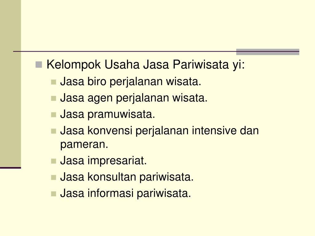 Kelompok Usaha Jasa Pariwisata yi: