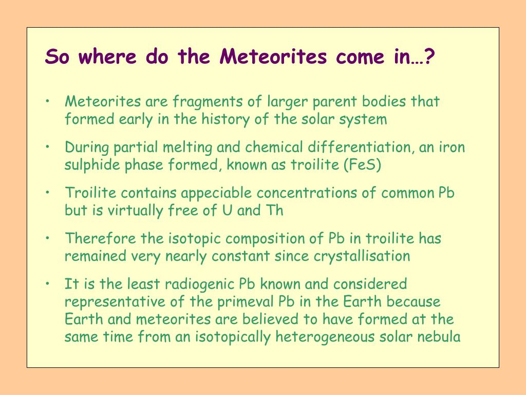 So where do the Meteorites come in…?