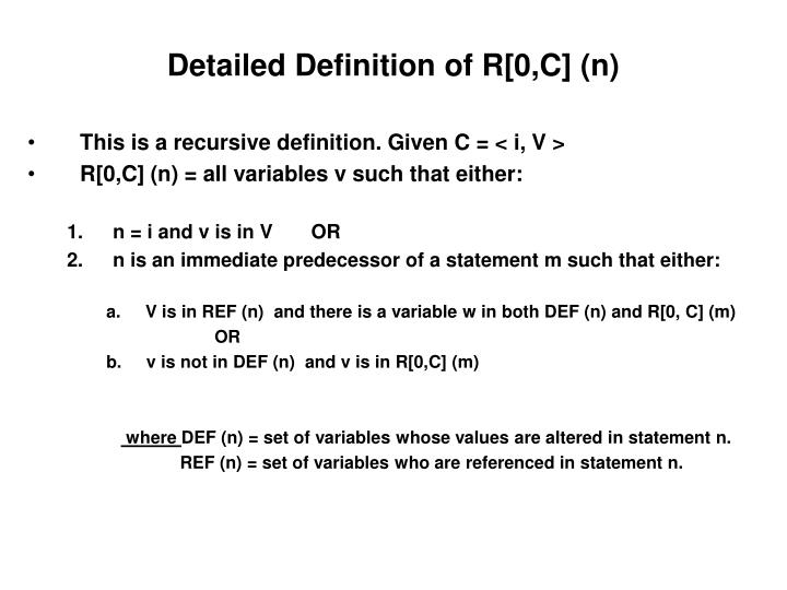 Detailed Definition of R[0,C] (n)