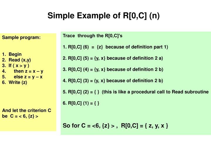Simple Example of R[0,C] (n)