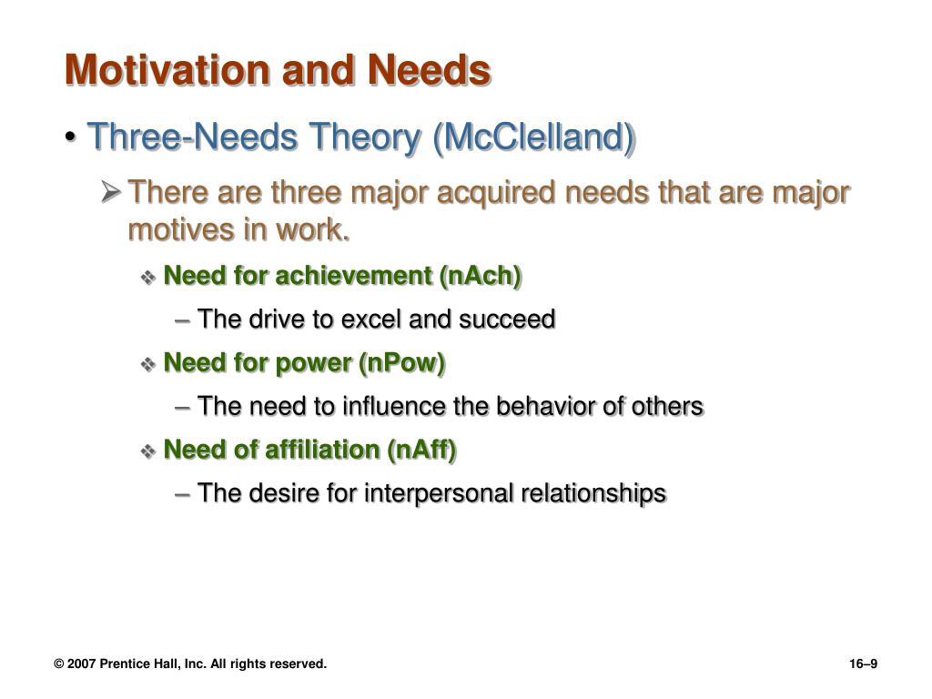 Motivation and Needs