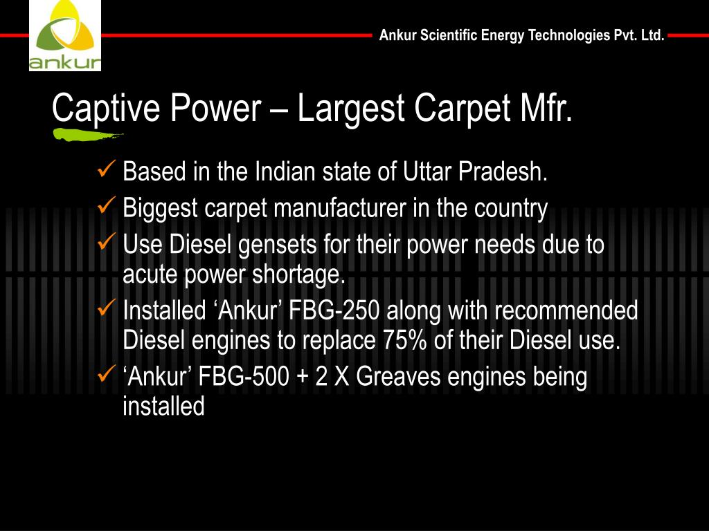 Captive Power – Largest Carpet Mfr.