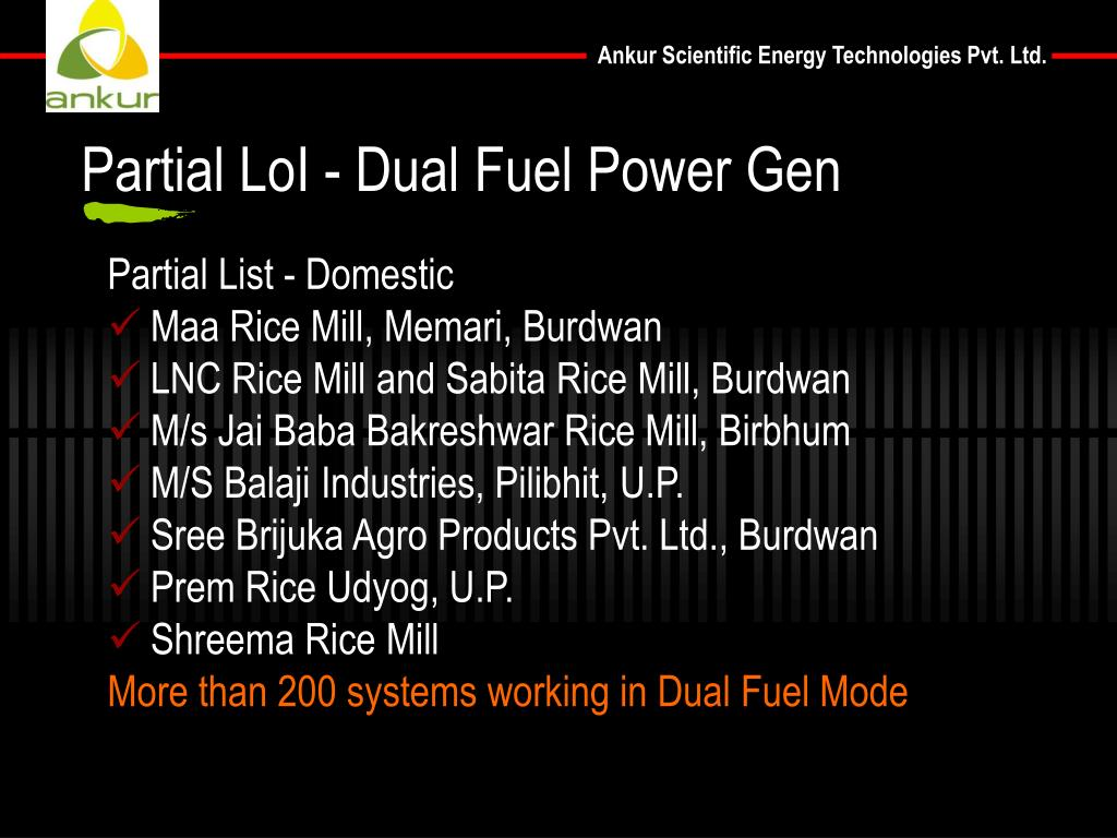 Partial LoI - Dual Fuel Power Gen