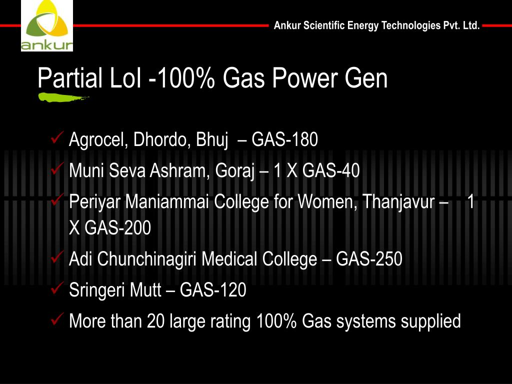 Partial LoI -100% Gas Power Gen