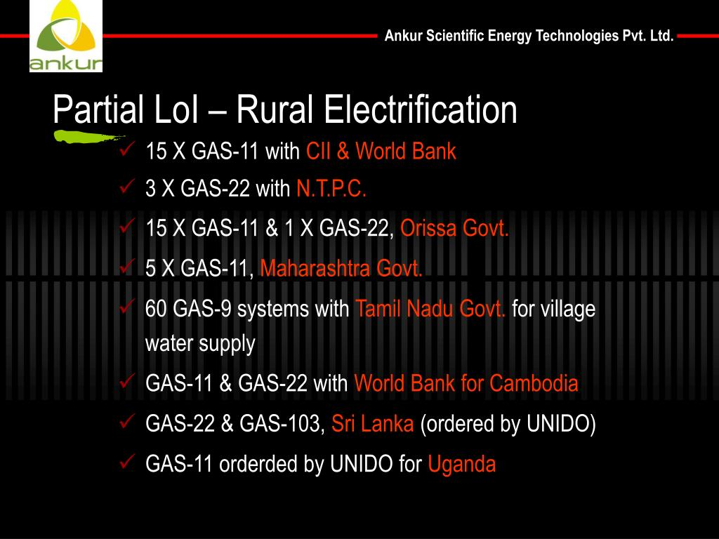 Partial LoI – Rural Electrification