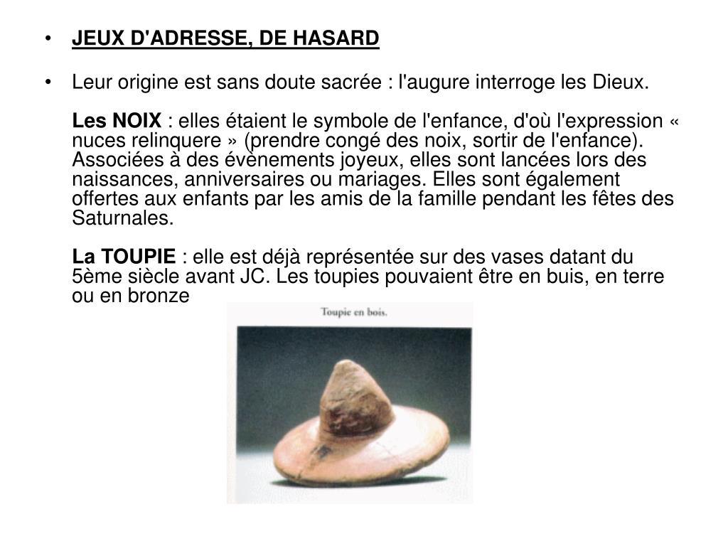 JEUX D'ADRESSE, DE HASARD
