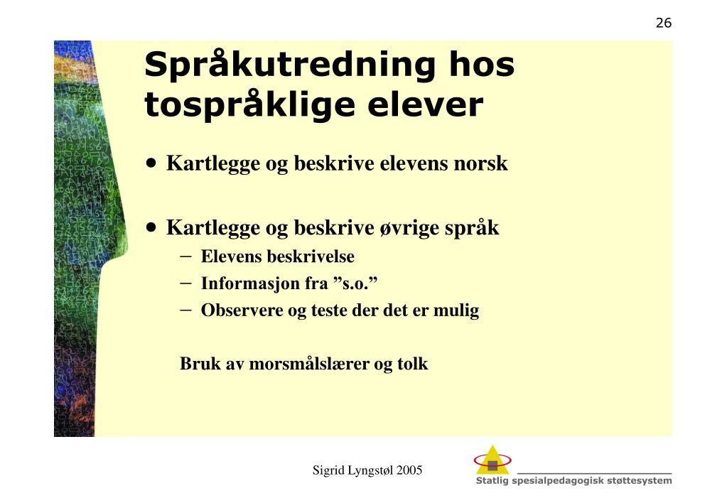 Språkutredning hos tospråklige elever