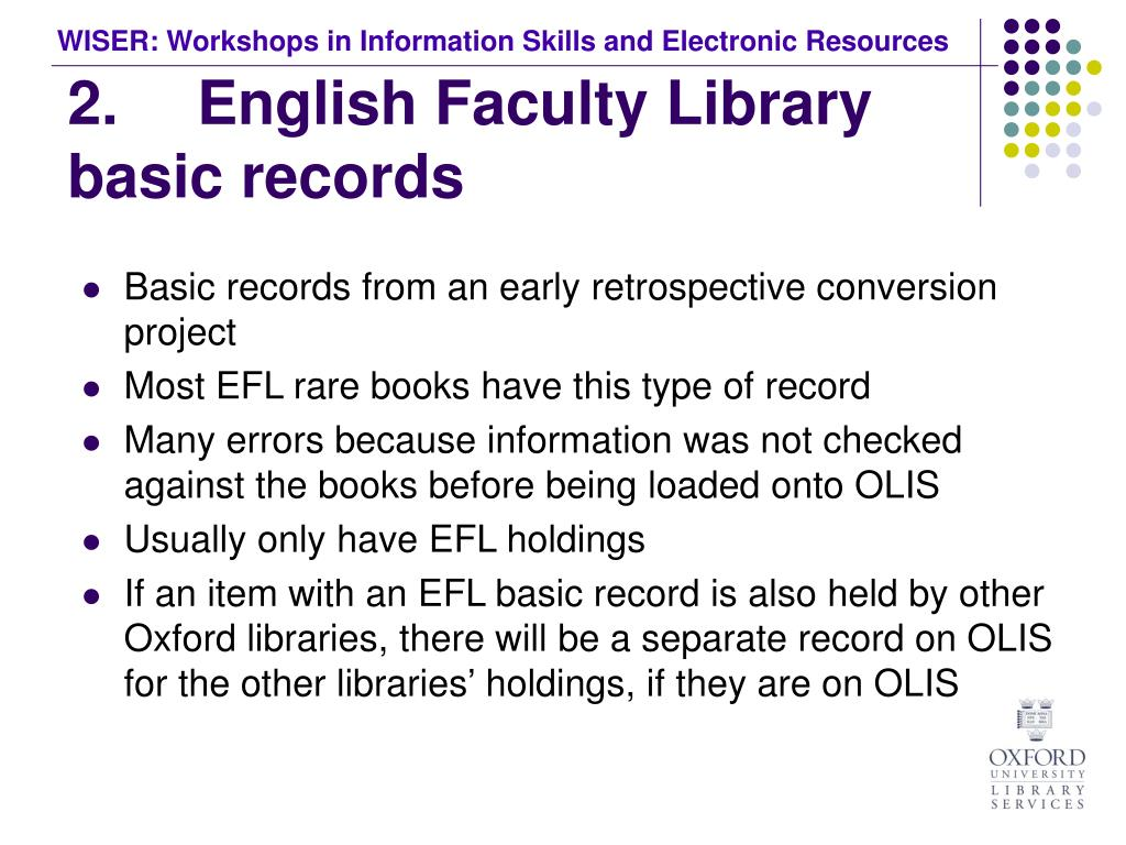 2.	 English Faculty Library basic records