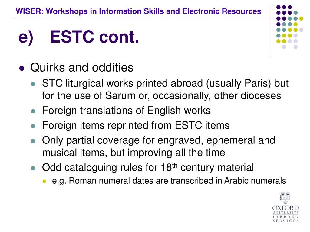 e)ESTC cont.