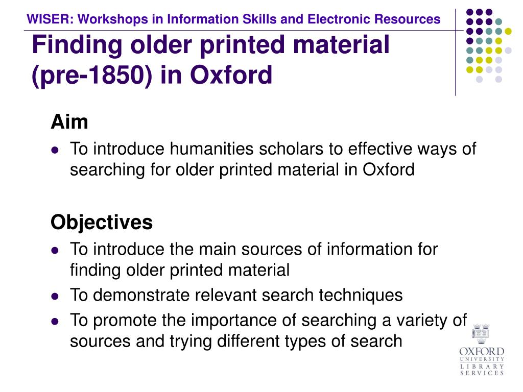 Finding older printed material (pre-1850) in Oxford
