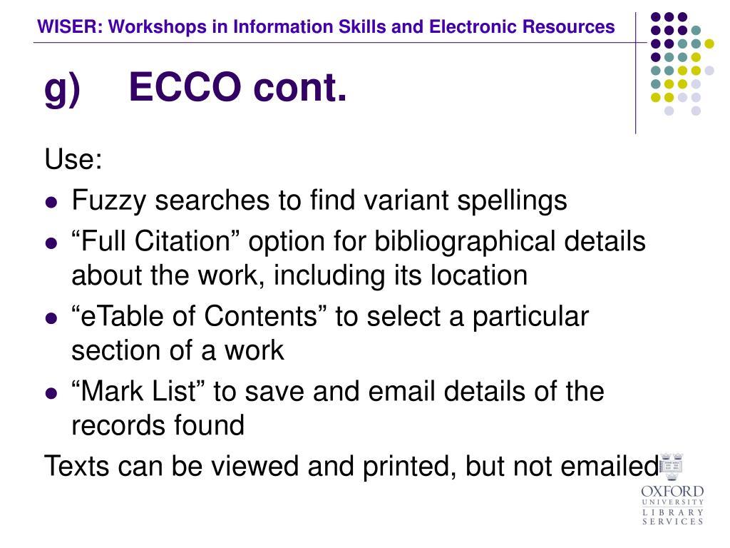 g) ECCO cont.