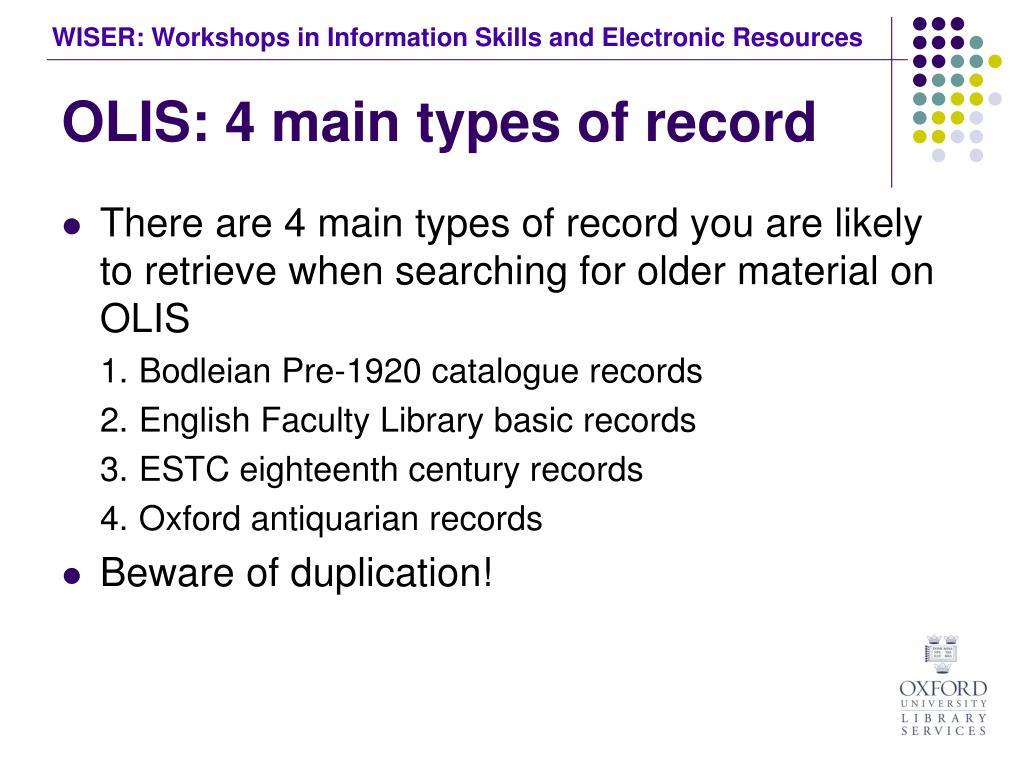 OLIS: 4 main types of record