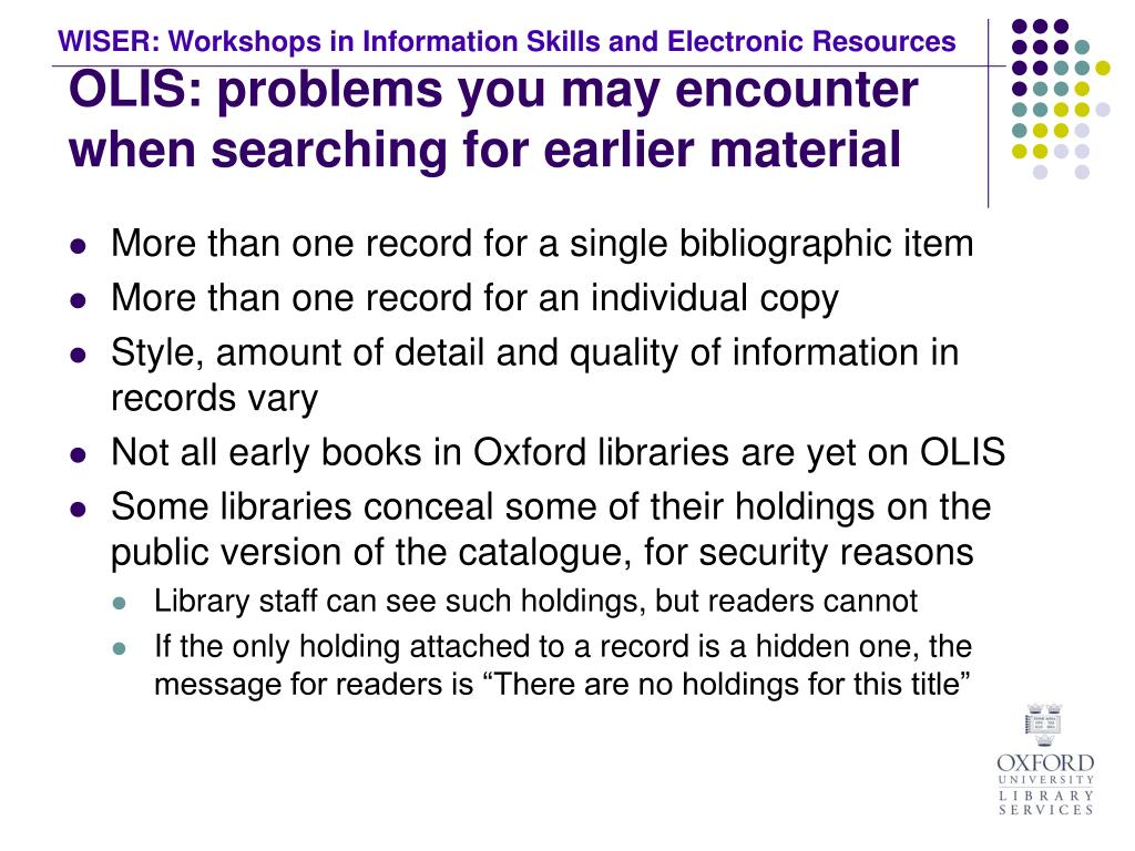 OLIS: problems you may encounter when searching for earlier material