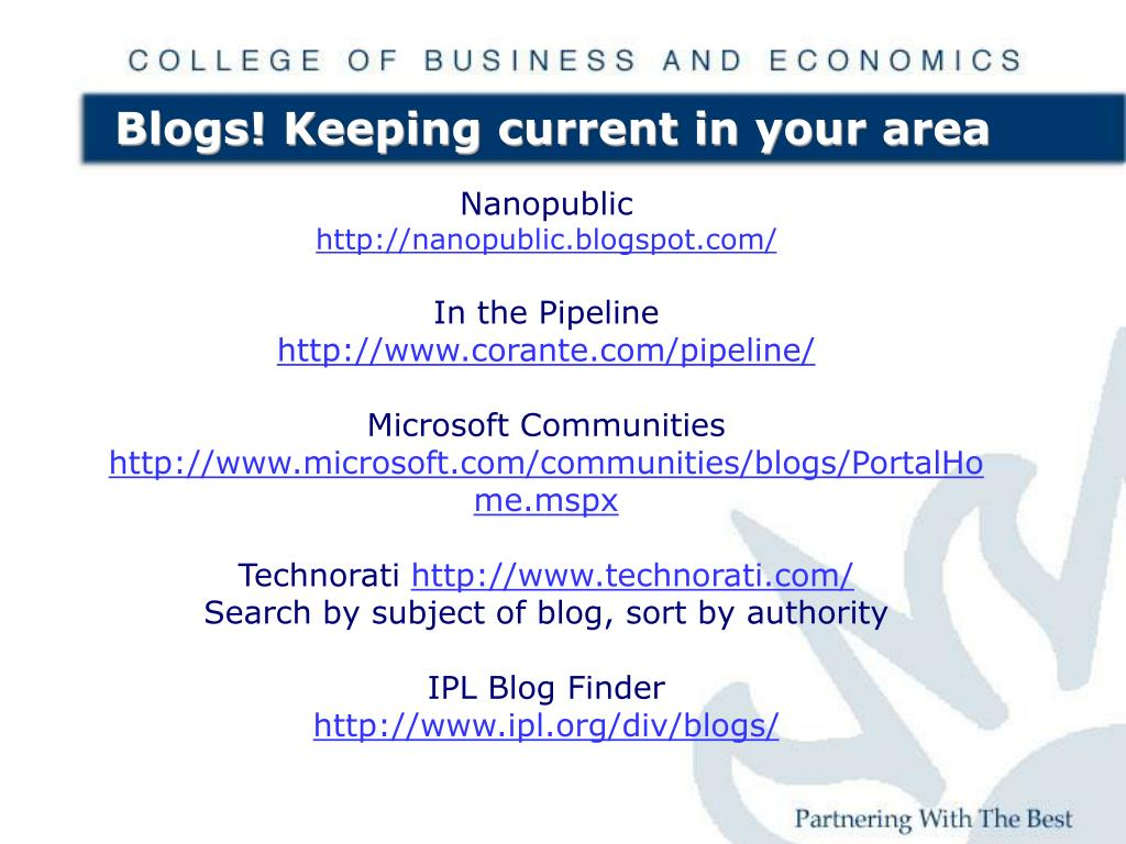 Blogs! Keeping current in your area