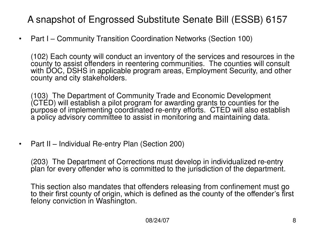 A snapshot of Engrossed Substitute Senate Bill (ESSB) 6157