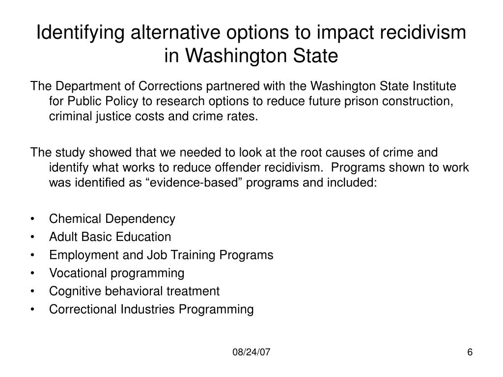 Identifying alternative options to impact recidivism in Washington State