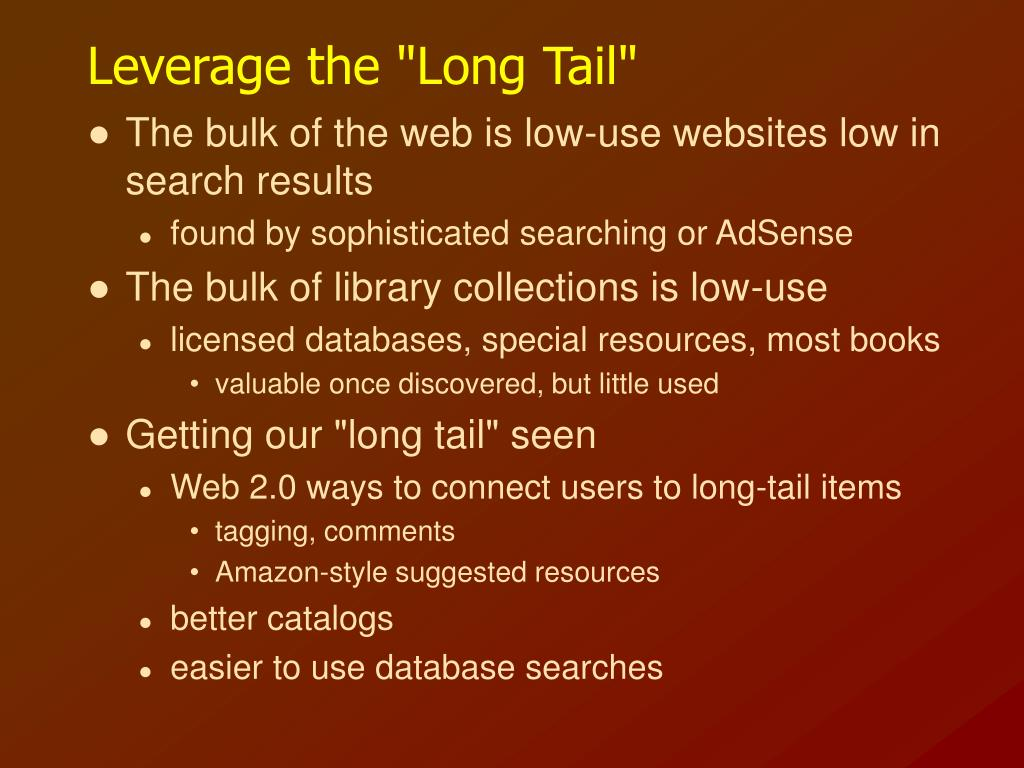 "Leverage the ""Long Tail"""