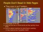 people don t read in web pages