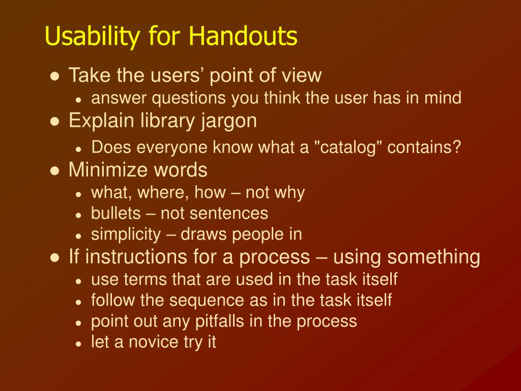 Usability for Handouts