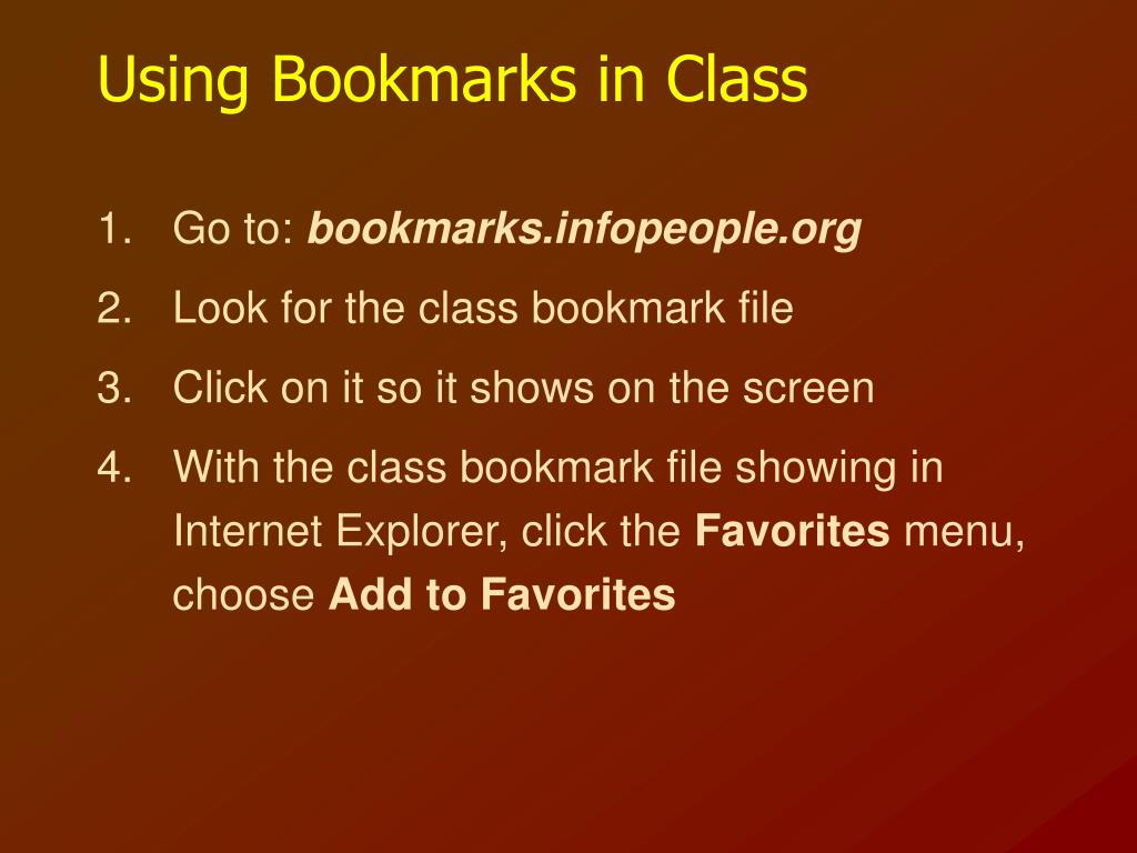Using Bookmarks in Class