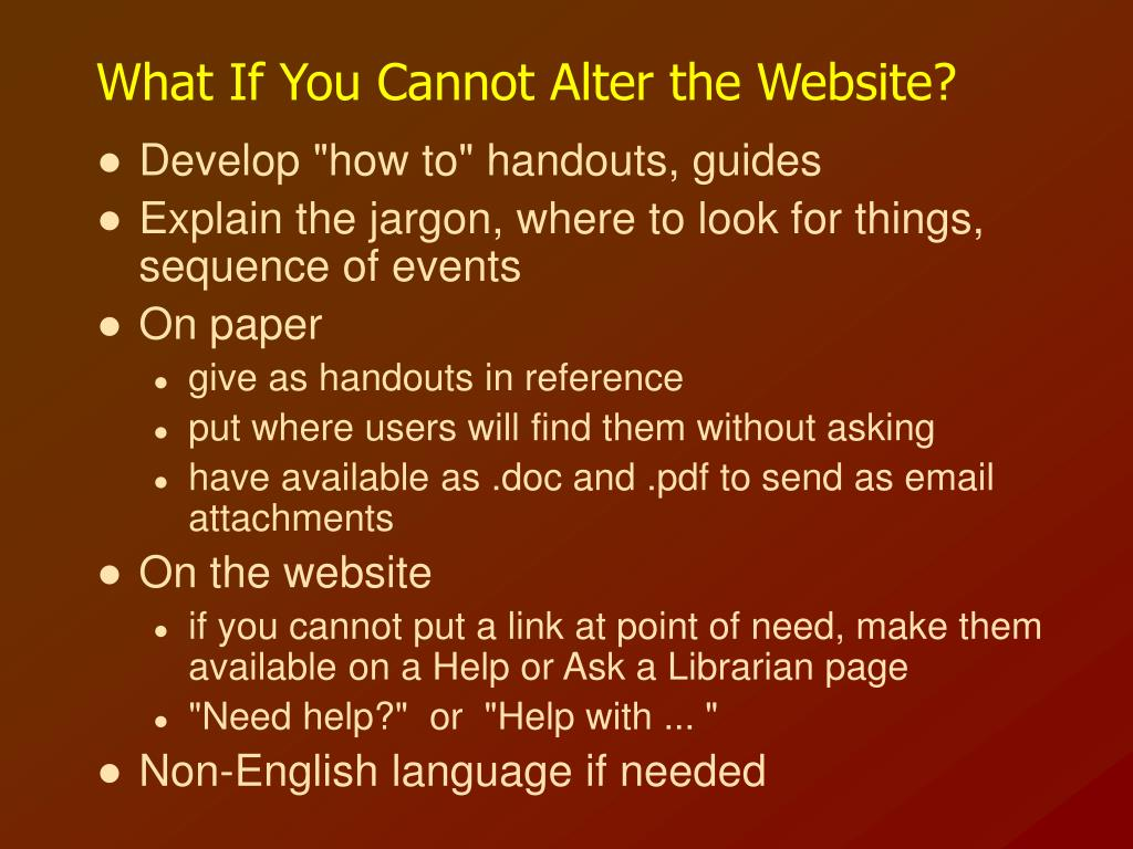 What If You Cannot Alter the Website?