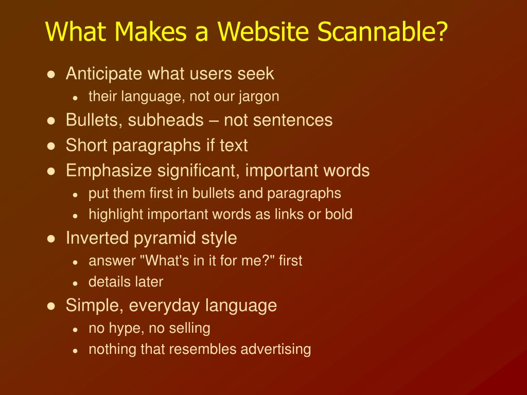 What Makes a Website Scannable?