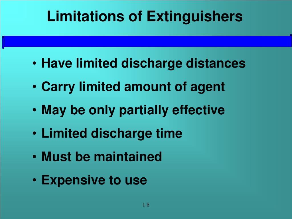 Limitations of Extinguishers