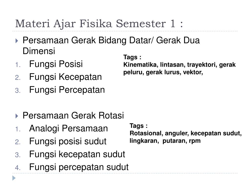 Materi Ajar Fisika Semester 1 :