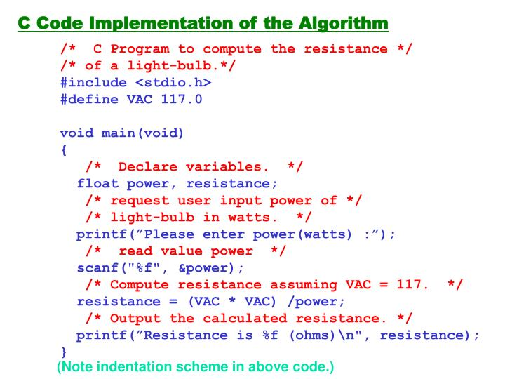 C Code Implementation of the Algorithm