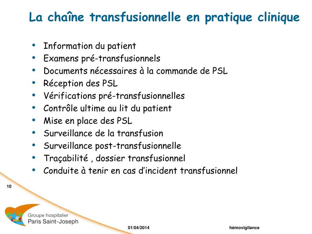 La chaîne transfusionnelle en pratique clinique