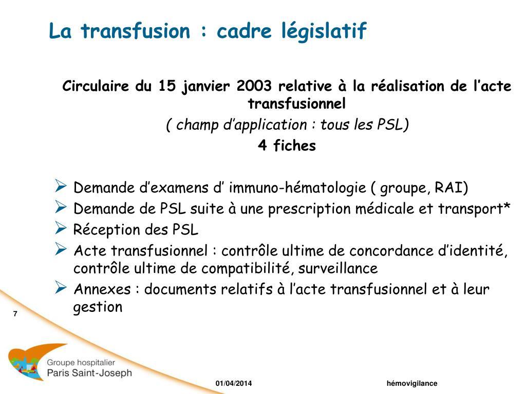 La transfusion : cadre législatif