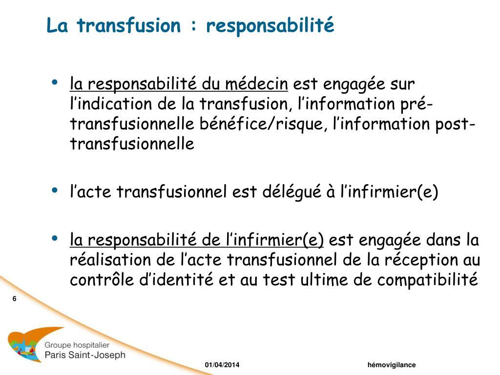 La transfusion : responsabilité