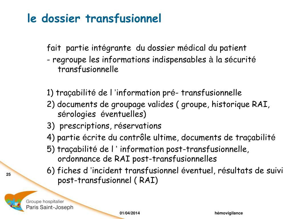 le dossier transfusionnel