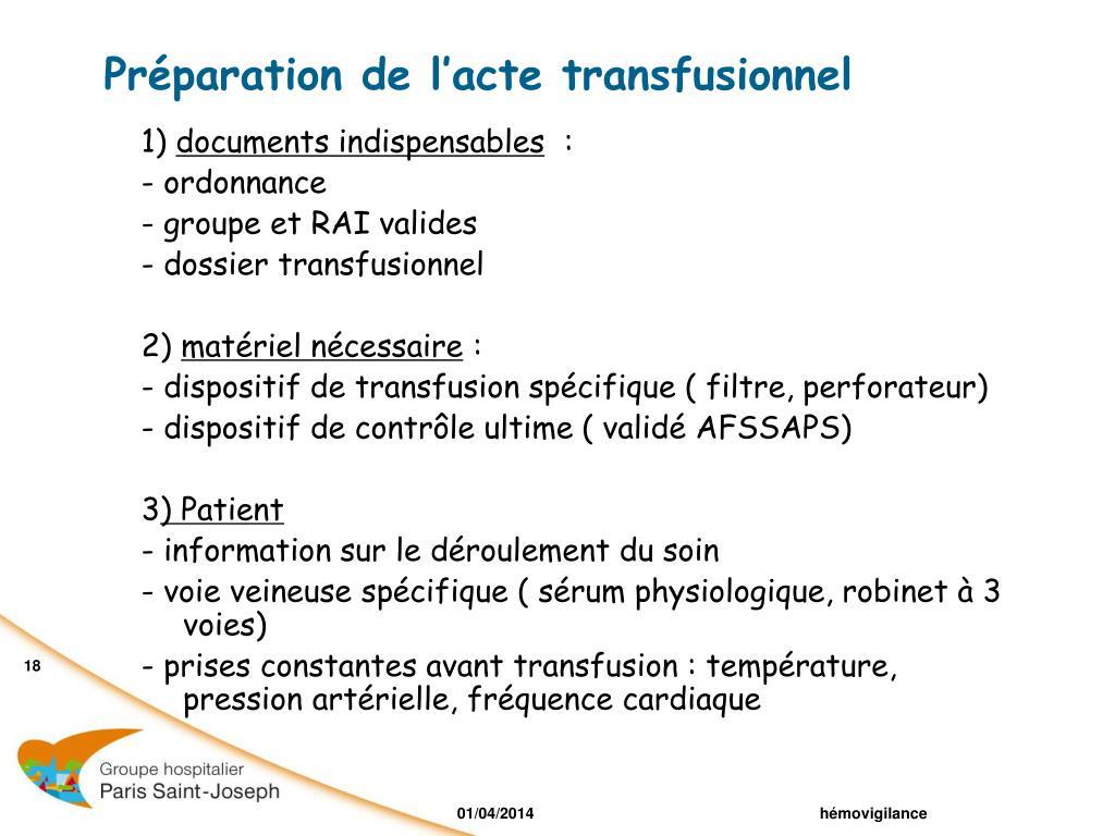 Préparation de l'acte transfusionnel