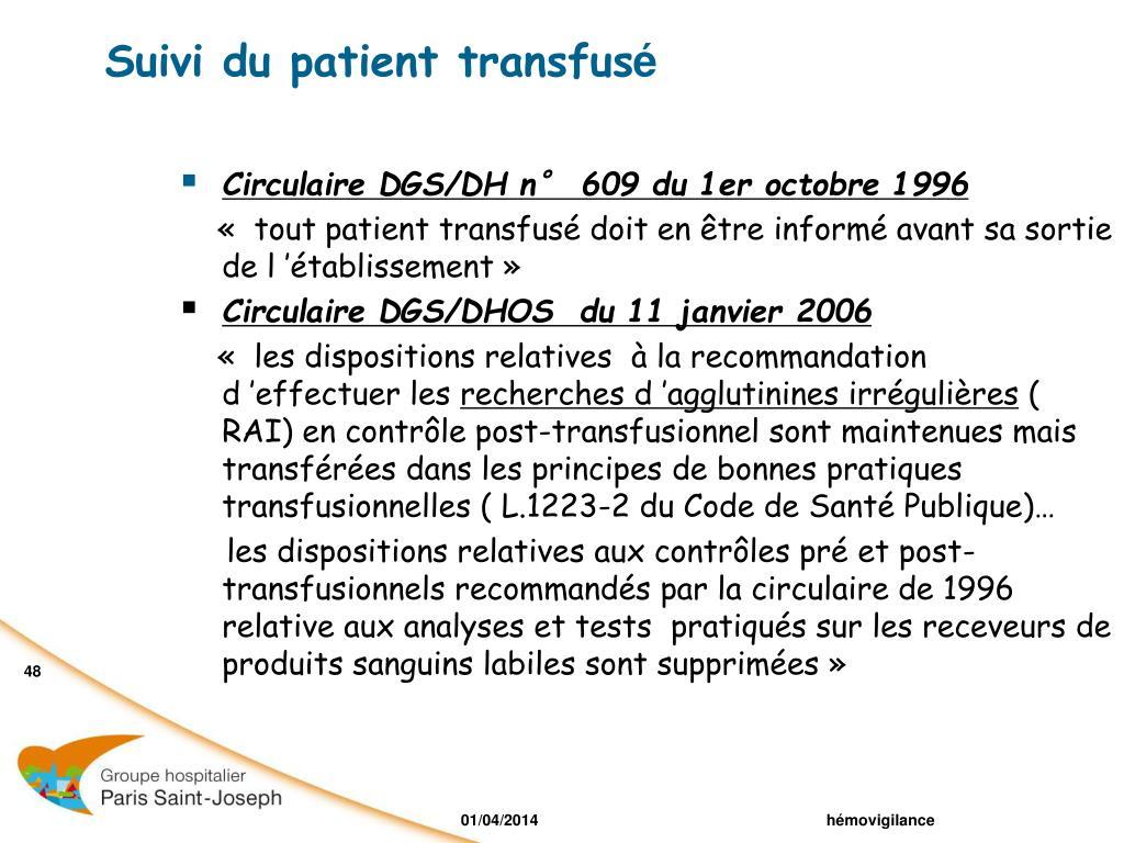Suivi du patient transfus