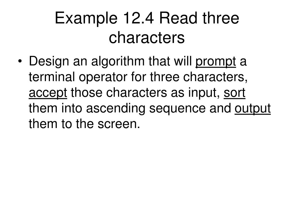 Example 12.4 Read three characters