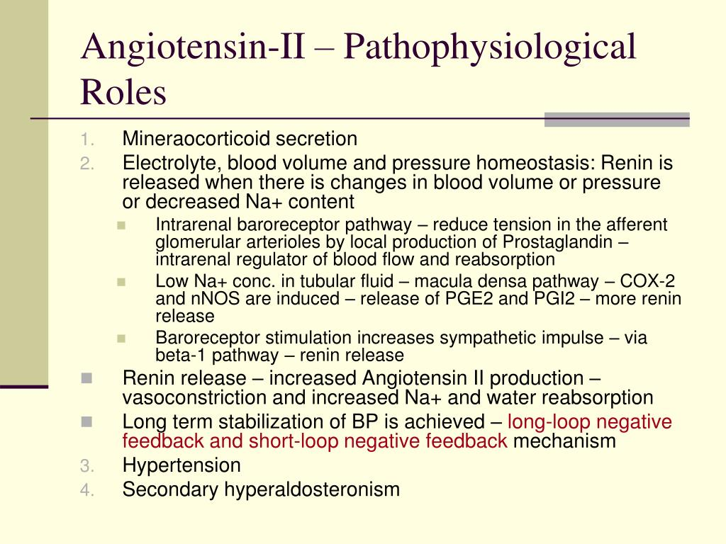 Angiotensin-II – Pathophysiological Roles