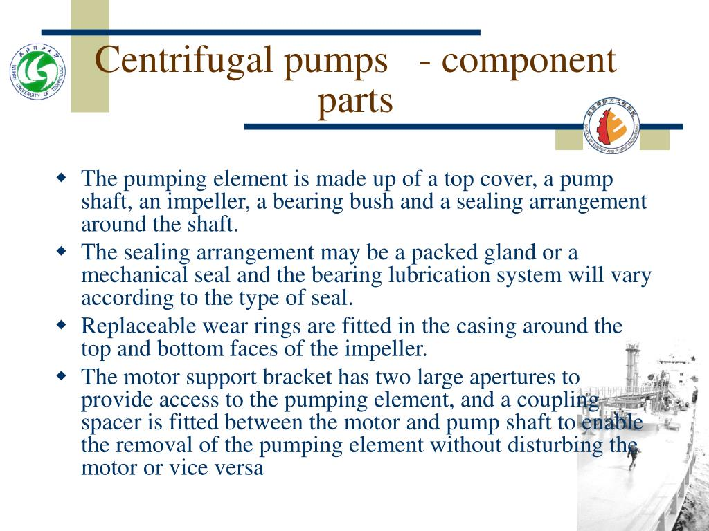 Centrifugal pumps   - component parts
