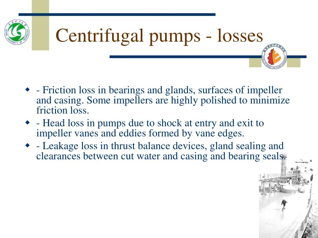 Centrifugal pumps - losses