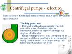 centrifugal pumps selection