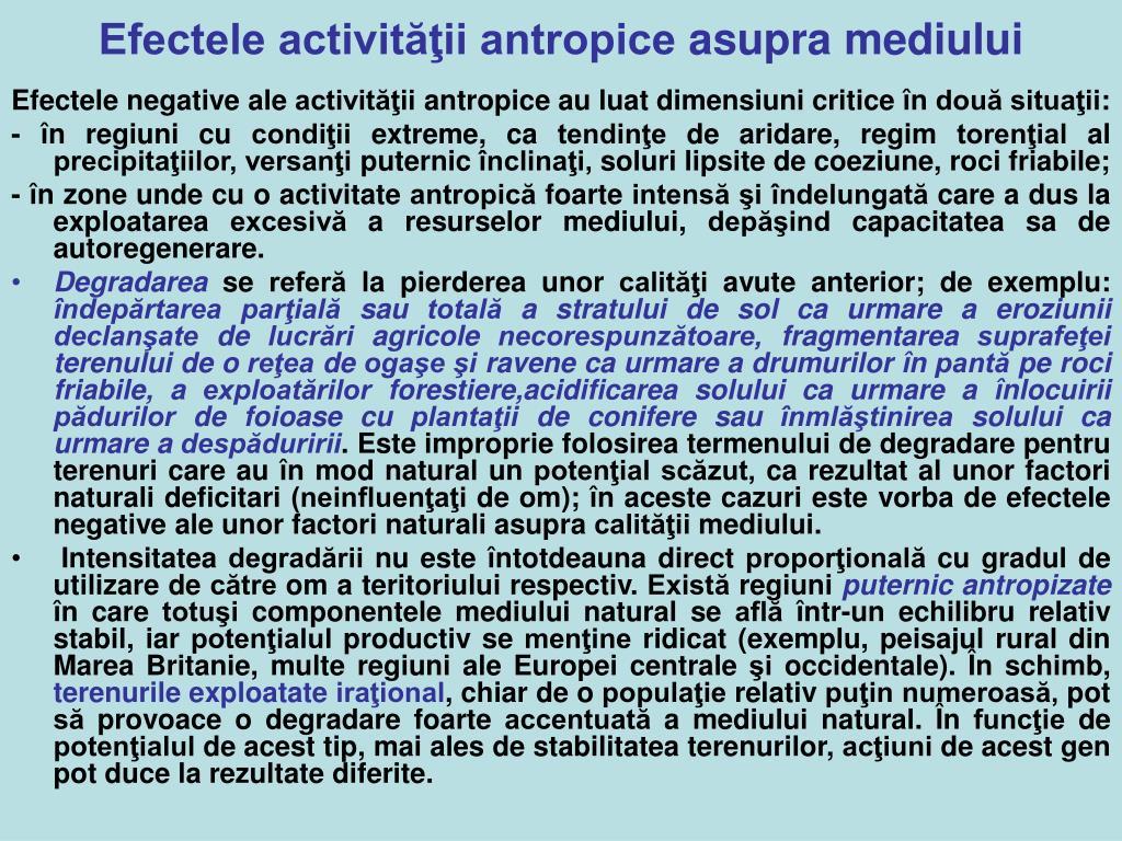 Efectele activităţii antropice