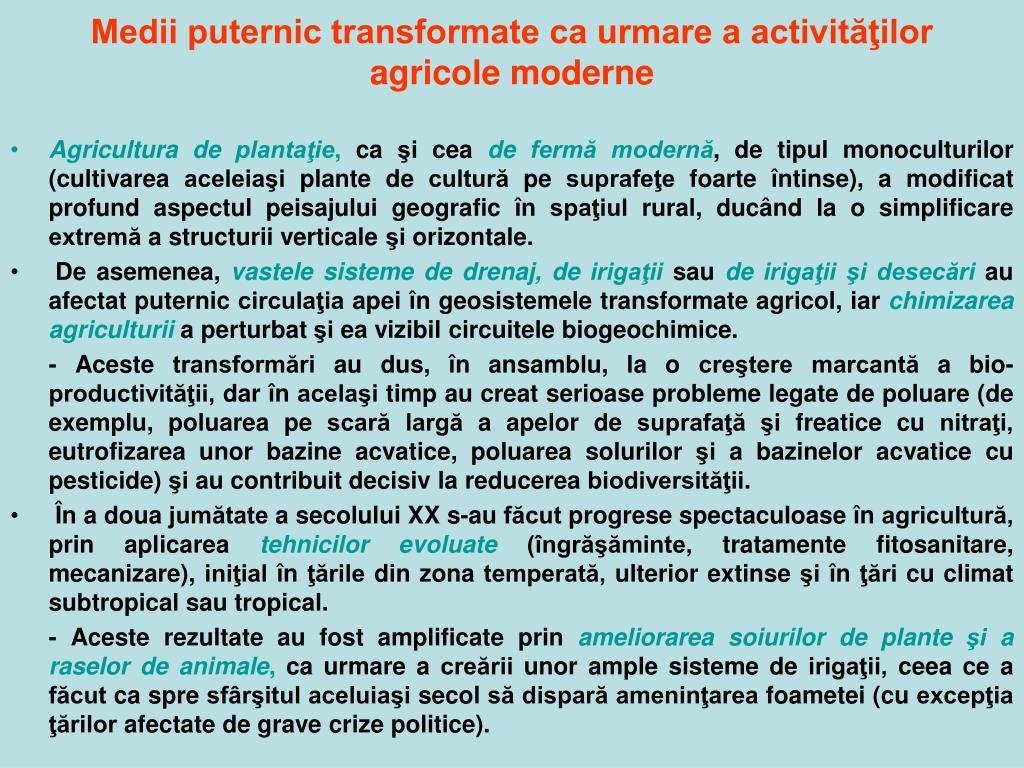 Medii puternic transformate ca urmare a activităţilor