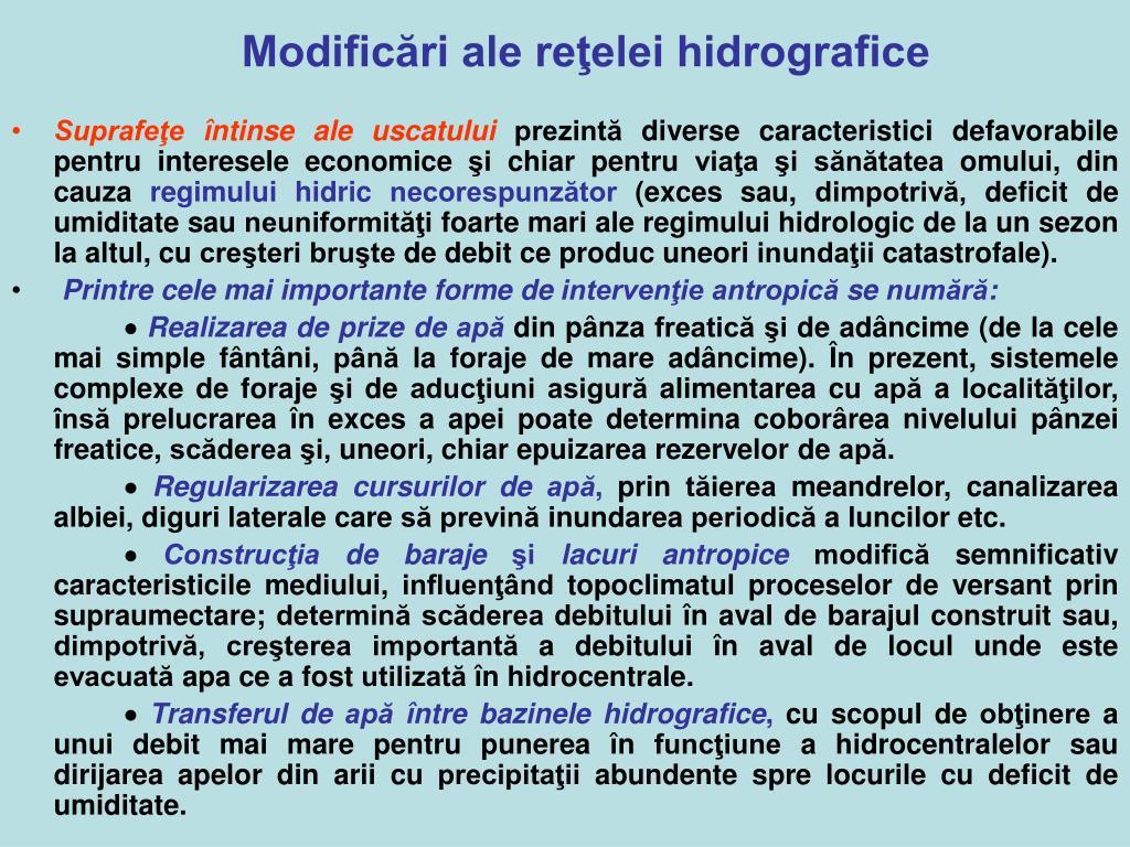 Modificări ale reţelei hidrografice