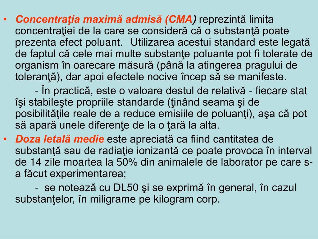 Concentraţia maximă admisă (CMA
