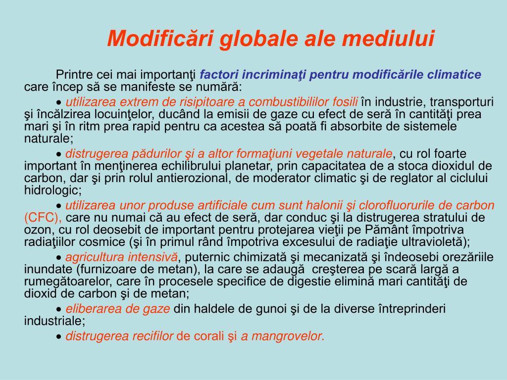 Modificări globale ale mediului